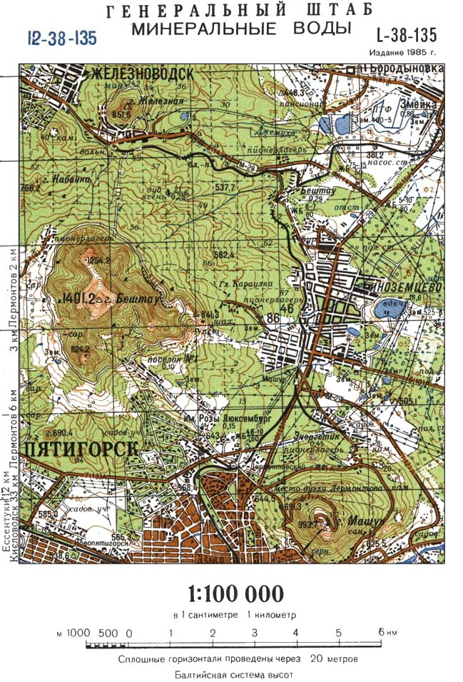 Бештау на карте Генерального